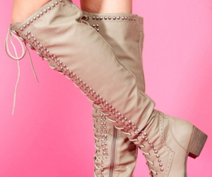 combat boots and knee high boots image