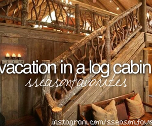 best friend, fall, and log cabin image