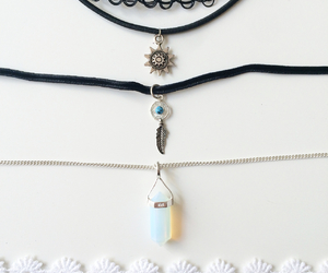 grunge, necklaces, and stone image