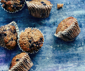 blueberry, muffins, and bran image