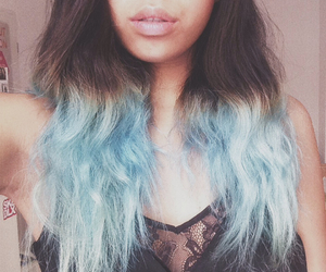 asian, blue, and dip dye image