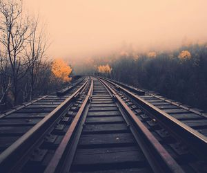 mist, railway, and road image