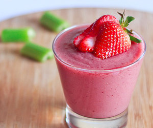 strawberry, smoothie, and healthy image