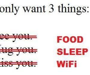 food, sleep, and wifi image