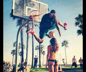 Basketball, couple, and dunk image