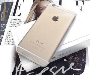 iphone, gold, and magazine image