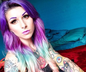 dyed hair, purple hair, and pastel hair image