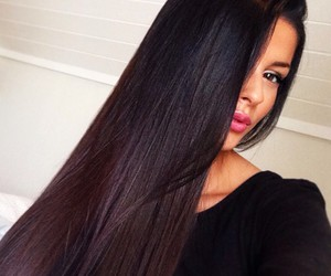 dark hair, girl, and hair image