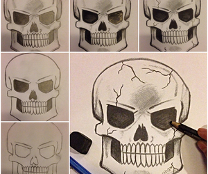 art, skull drawing, and colored pencils image