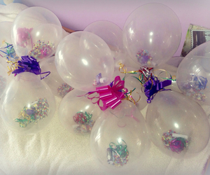 balloons, birthday, and confetti image