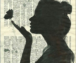 girl, art, and butterfly image