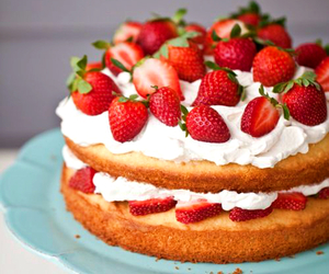 cake, chantilly, and strawberry image