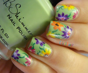 green, flowers, and nail art image