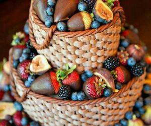 cake, fruit, and basket image