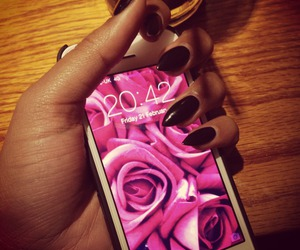 nails, iphone, and rose image