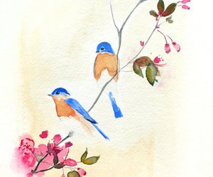 bird, art, and flowers image