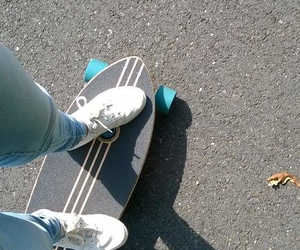 jean, longboard, and shoes image