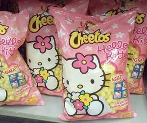 hello kitty, Cheetos, and pink image