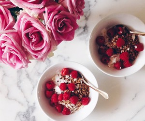 flower, food, and pink image