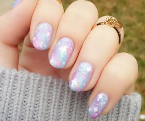 nails, pastel, and galaxy image