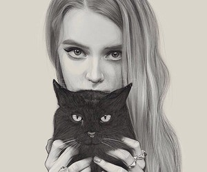 cat, girl, and art image