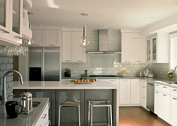 Kitchen The Beautiful Kitchen Room By Using White Glass Backsplash Innovation The Best Design Of White Glass Backsplash With White Chest Of Drawer And White Chairs Also White Sink And Lights On