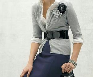 cardigan, fashion, and pencil skirt image
