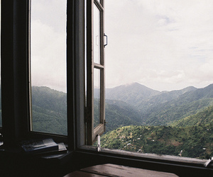 window, mountains, and nature image