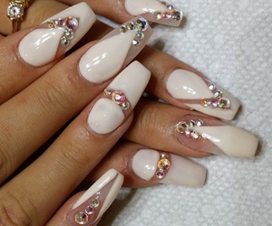 nail art, Nude, and coffin nails image