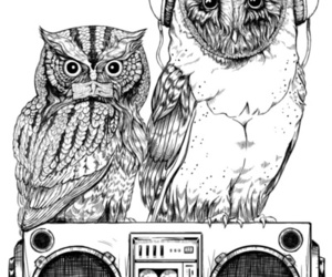 owl, music, and art image