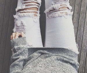 gold, sweater, and jeans image