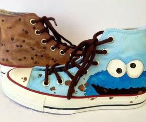 cookie monster, custom shoes, and sesame street image