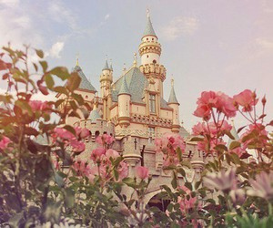 castle, flowers, and disney image