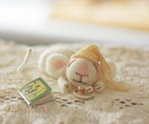 cute, mouse, and book image
