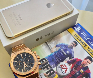 watch, gold, and iphone image