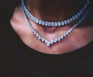 black shirt, diamond, and neck image