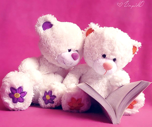 book, pink, and bear image
