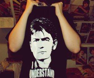 brunette, t-shirt, and charlie sheen image