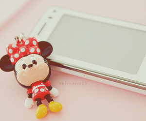 minnie mouse, cell phone, and kawaii image