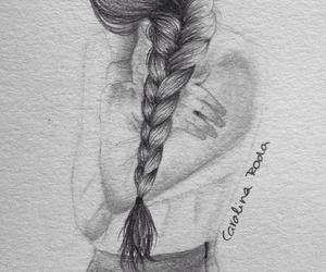 art, black and white, and braid image