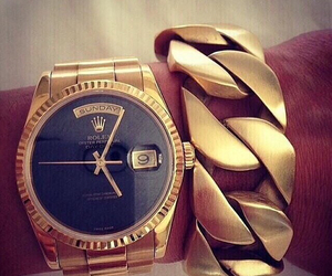 gold, rolex, and watch image