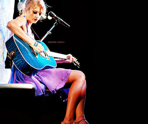 blue dress, concert, and guitar image