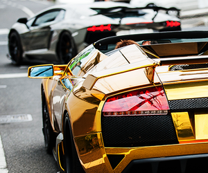 car, gold, and Lamborghini image