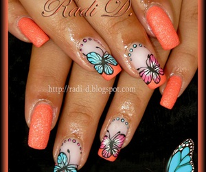 butterfly, nails, and nail art image