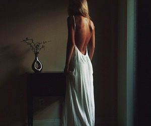 dress, blonde, and white image