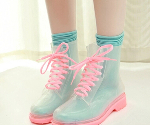 pink, boots, and blue image