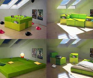 green, bed, and room image