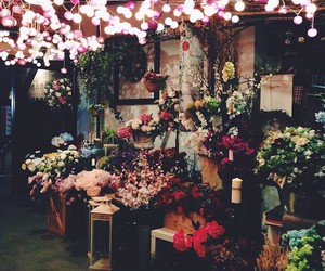 flowers, happy place, and lights image