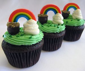 cupcakes, rainbows, and green image