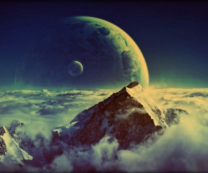 moon, mountains, and clouds image